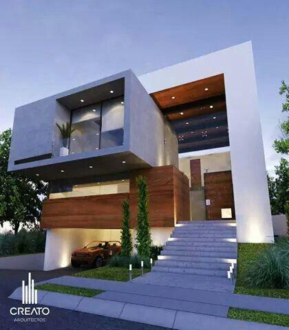 fachada de casa pequena con balcon amplio en la planta baja