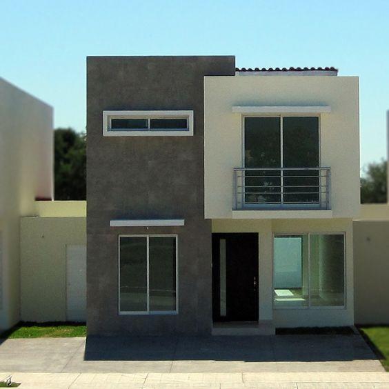 Fachada de casa pequena con balcon pequeno en el segundo for Ideas fachadas de casas pequenas