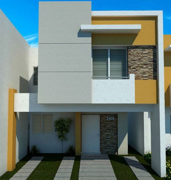 fachada de casa pequena con balcon pequeno