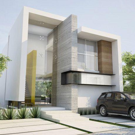 fachada de casa pequena con detalle en pintura verde (3)