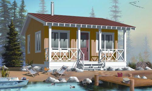 fachada de casa pequena con el lago en la entrada (3)
