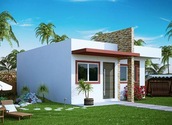 fachada de casa pequena con entrada en pintura roja