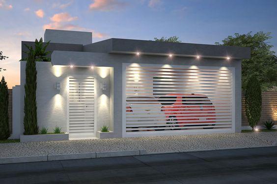 fachada de casa pequena con garage