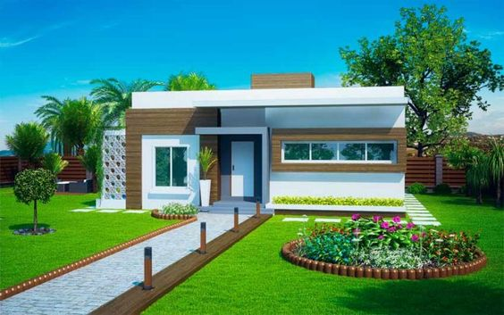fachada de casa pequena con paisajismo en la entrada