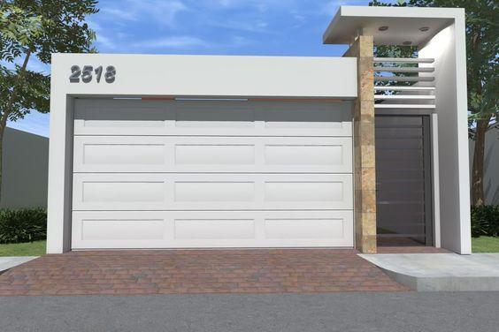 fachada de casa pequena con puerta en el garage (2)