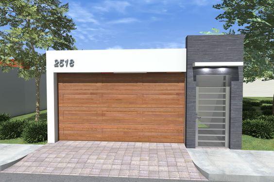 fachada de casa pequena con puerta en el garage