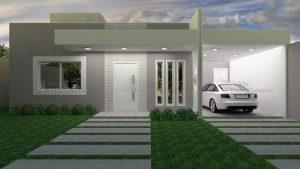 fachada de casa pequena con techo aparente