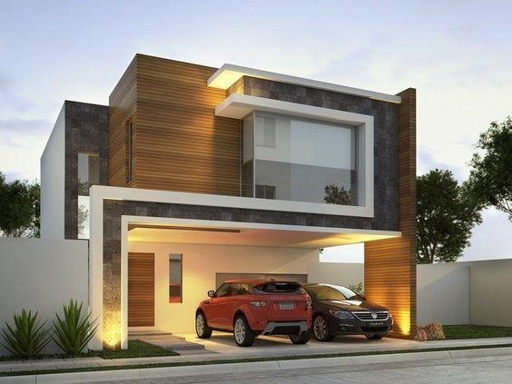 fachada de casa pequena con techo aparente y columna de madera para destacar la entrada