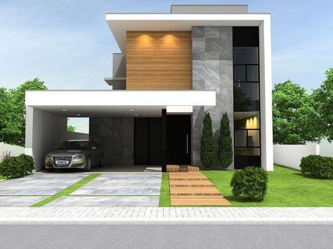 fachada de casa pequena con techo aparente y columna de madera para destacar la entrada (3)