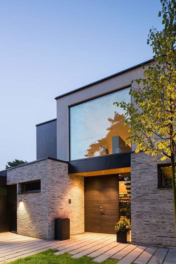 fachada de casas con detalle de ladrillo a la vista (2)