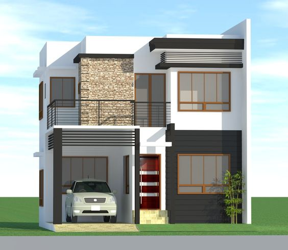 fachada de casas sencillas en columnas de piedra (5)