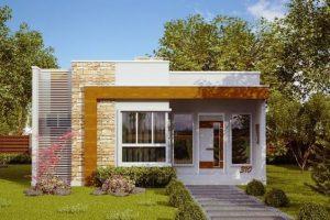 fachada de la casa pequena con pared de vista de ladrillo voluntad (2)