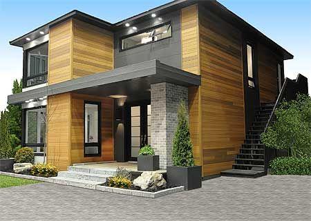 fachada gris con detalle en madera