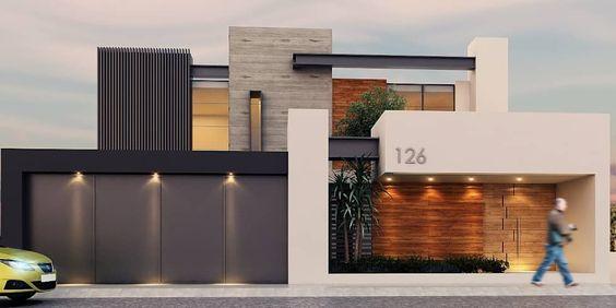 fachadas de casas con madera y muro de piedra (2)