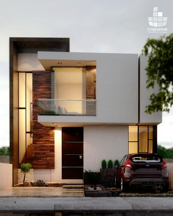 fachadas de casas con madera y muro de piedra