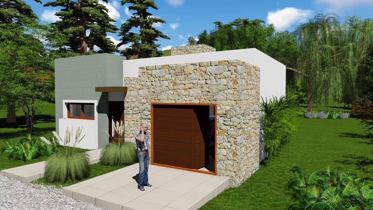 fachadas de casas con techo simple oculto