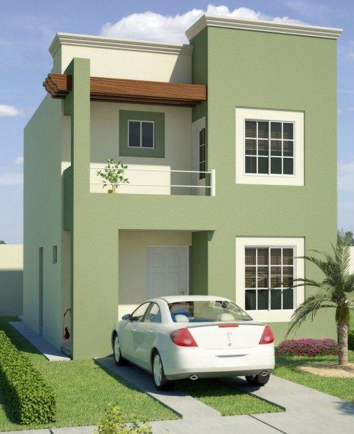 fachadas de casas en color verde