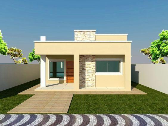 fachada de casa pequena con ventanas rectangulares