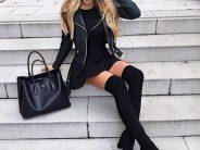 Looks de vestido con botas para el invierno 2017 – 2018