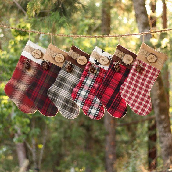 Botas navideñas con cuadros escoceses
