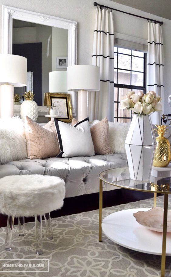 Tips para conseguir una decoraci n glamurosa - Black gold and silver living room ...