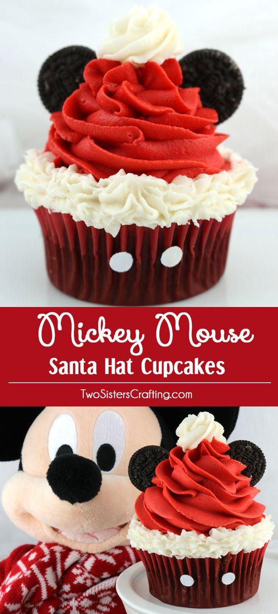 Cupcakes para navidad de Mickey Mouse