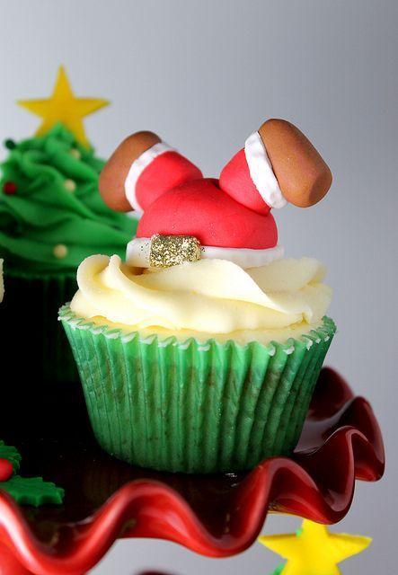 Cupcakes decorados con Santa Claus