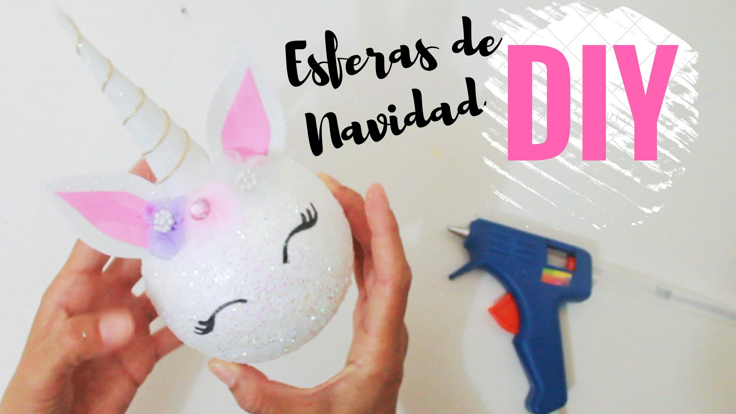 DIY Esferas de navidad de unicel unicornio