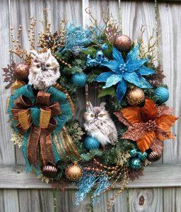 Ideas de decoracion para navidad en verde azulado con cobre (15)