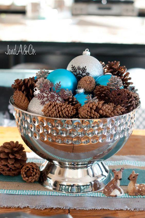 Ideas de decoracion para navidad en verde azulado con cobre
