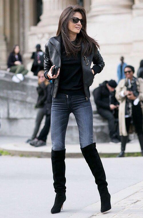 Outfits de jeans con botas largas otoño - invierno 2017 (1)