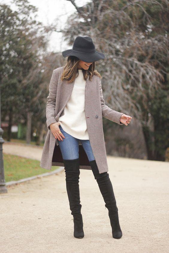 Outfits de jeans con botas largas otoño - invierno 2017 (10)