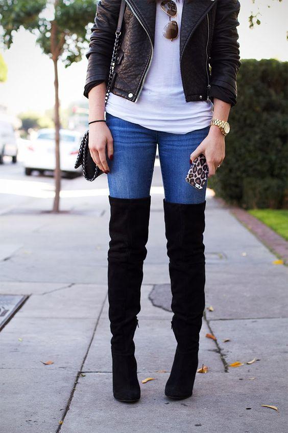 Outfits de jeans con botas largas otoño - invierno 2017 (12)