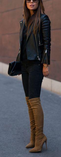Outfits de jeans con botas largas otoño - invierno 2017 (18)