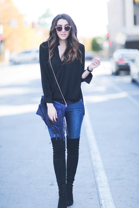 Outfits de jeans con botas largas otoño - invierno 2017 (19)