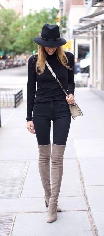 Outfits de jeans con botas largas otoño - invierno 2017 (21)