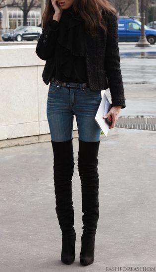 Outfits de jeans con botas largas otoño - invierno 2017 (22)