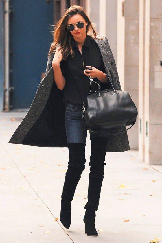 Outfits de jeans con botas largas otoño - invierno 2017 (24)