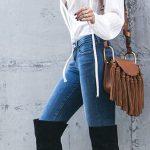 Outfits de jeans con botas largas otoño - invierno 2017 (25)