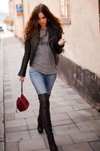 Outfits de jeans con botas largas otoño - invierno 2017 (4)
