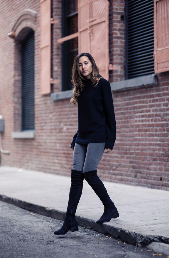 Outfits de jeans con botas largas otoño - invierno 2019