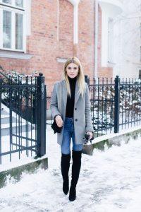 Outfits de jeans con botas largas otoño - invierno 2017 (7)