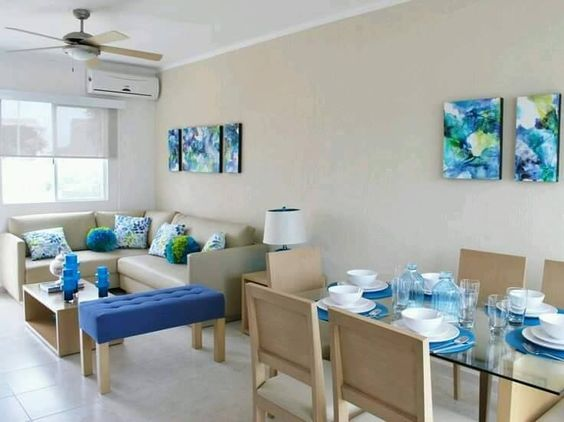 Tendencia en decoracion de sala y comedor juntos 2018 for Decoracion casas de playa pequenas