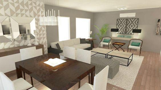 Tendencia en decoraci n de sala y comedor juntos 2018 for Living comedor pequeno rectangular