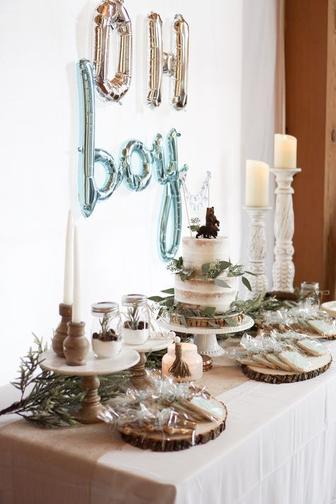 Wood Theme Baby Shower Decor