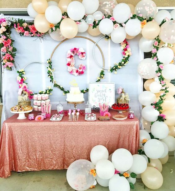 Decoracion baby shower niña moderna