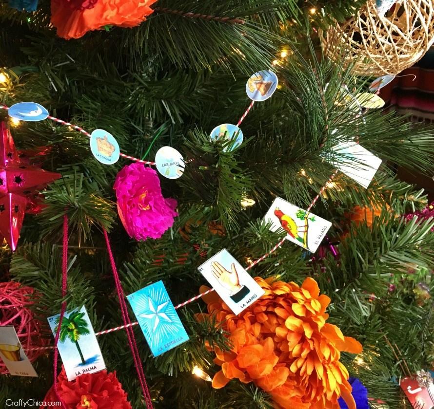 Árbol de Navidad con Lotería Mexicana (2)