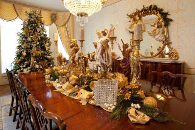 Centro de Mesa para Navidad color Dorado (2)