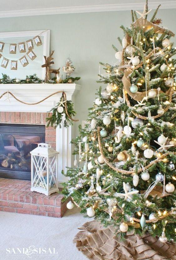 Ornamentos para el pino de navidad plata con dorado