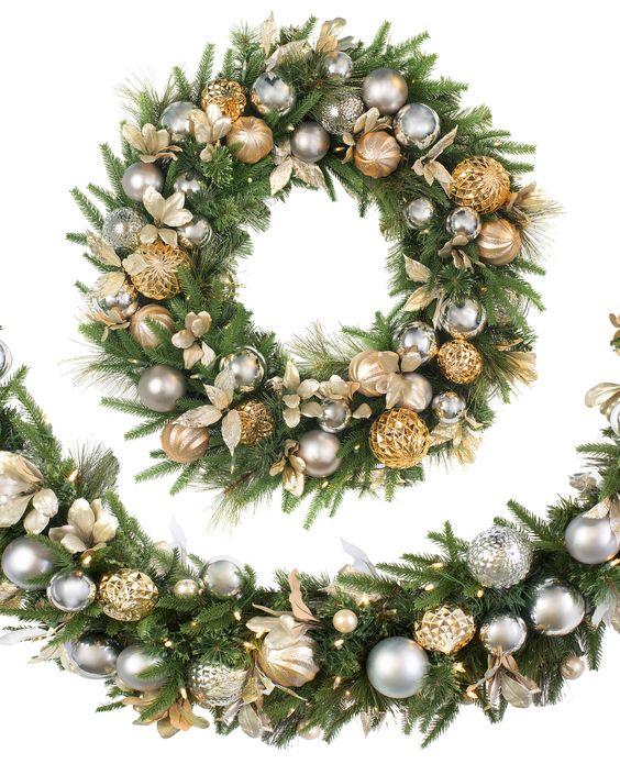 Decoracion de navidad plata con dorado (11)